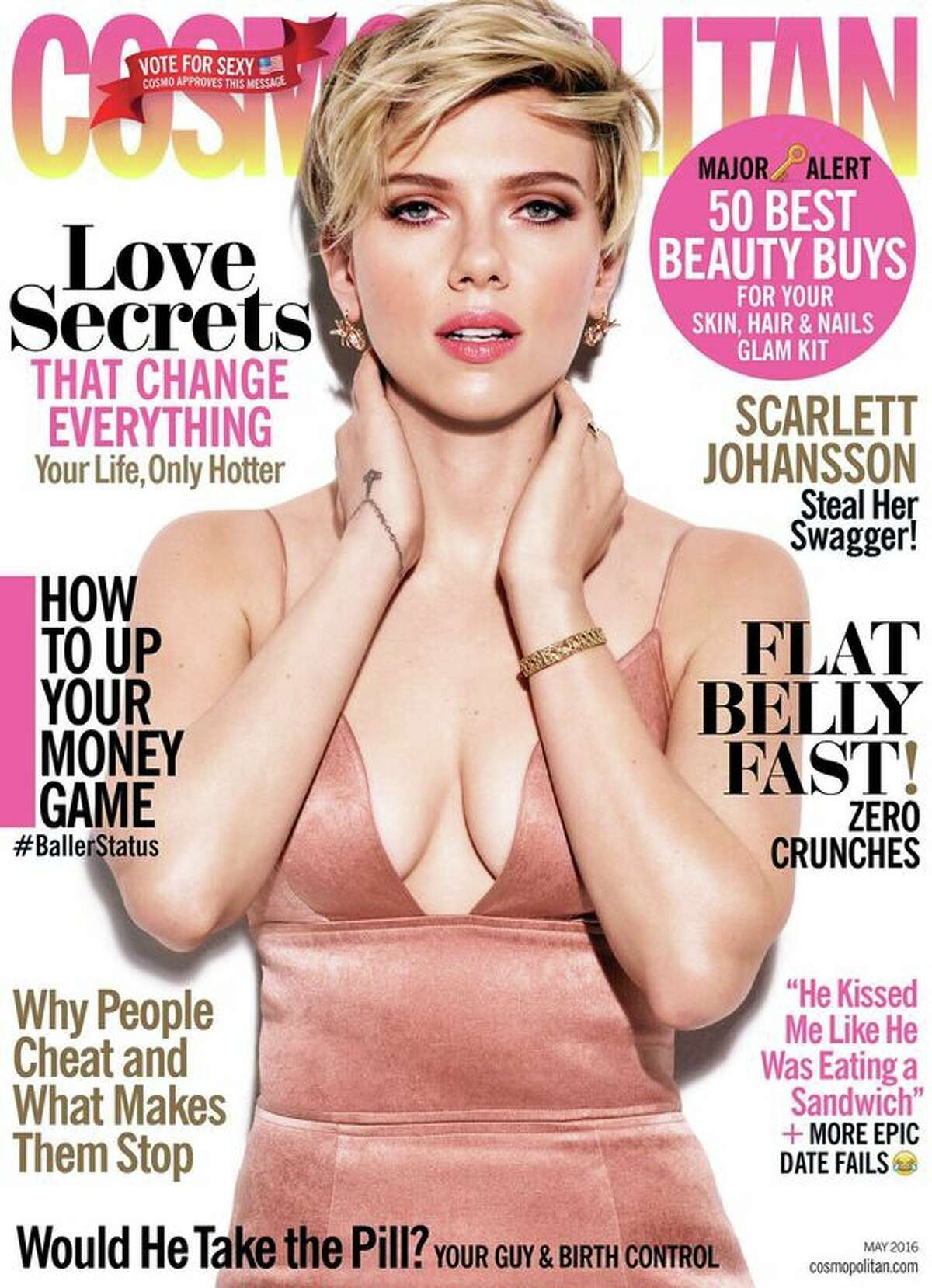 Scarlett Johansson appears on the May 2016 cover of Cosmopolitan magazine. KEEP CLICKING FOR SOME OF HER MOST NOTABLE QUOTES FROM THE INTERVIEW.
