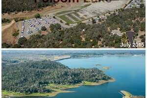 Folsom Lake       Top:  Aerial view of Folsom Lake Marina (a.k.a. Browns Ravine Marina), showing low water level (drought conditions). One of the largest inland marinas in California, it is located in Browns Ravine at Folsom Lake State Recreational Area. The Marina is located at the south end of the lake and has an earth filled break wall protecting it from the main lake. (Paul Hames)    Bottom:  A southwest view of Folsom Lake Marina and Browns Ravine Cove in El Dorado Hills, Calif. February 25, 2016. On this day, the water storage was 616,340 acre feet, 63% of total capacity, and 114% of historical average for this date. Folsom Lake is a reservoir in Northern California about 25 mi (40 km) northeast of Sacramento in Placer, El Dorado, and Sacramento Counties. (Florence Low)
