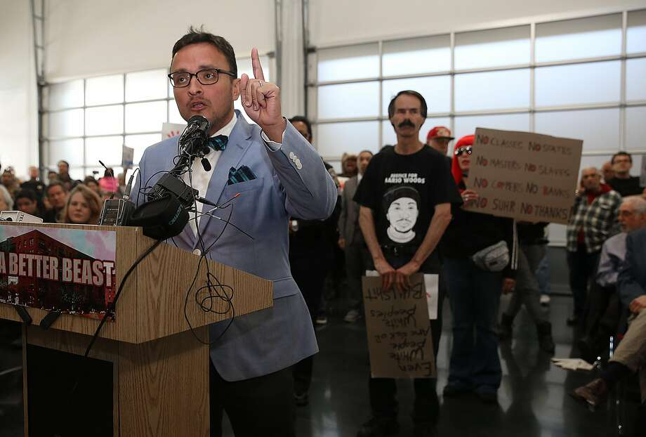 S.F. Supervisor David Campos speaks at the town hall meeting on April 13 regarding the San Francisco Police Department's officer-involved shooting of Luis Gongora, a 45-year-old homeless man. Photo: Liz Hafalia, The Chronicle