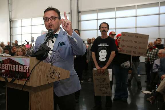 SF supervisor David Campos speaks at the town hall meeting at the Union Local Hall in San Francisco, California on wednesday, april 13, 2016 regarding the San Francisco Police Department's officer-involved shooting of Luis Gongora, a 45-year-old homeless man.