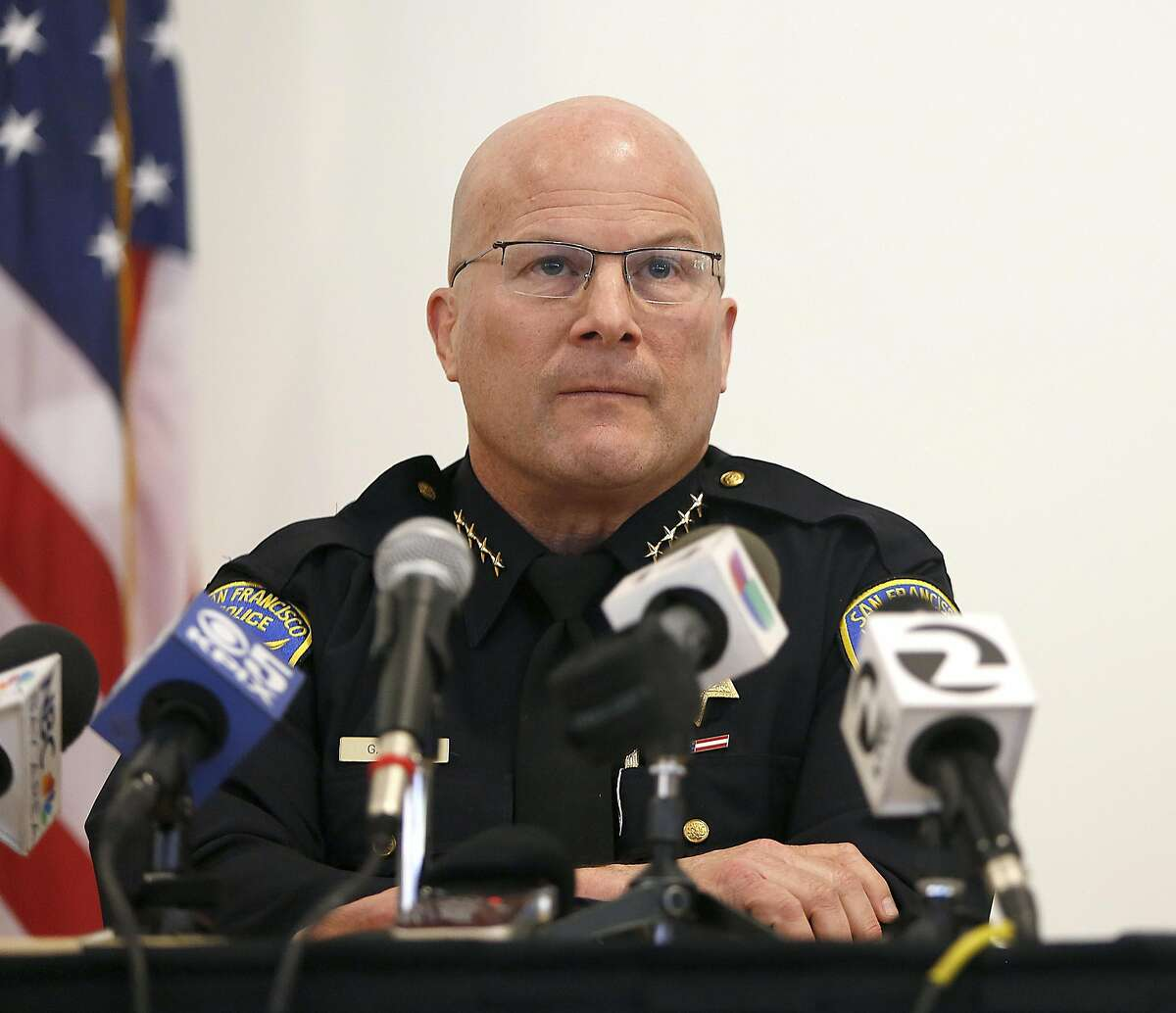 San Francisco police chief Greg Suhr listens to the public at the Union Local Hall during a town hall meeting regarding the San Francisco Police Department's officer-involved shooting of Luis Gongora, a 45-year-old homeless man in San Francisco, California on wednesday, april 13, 2016.