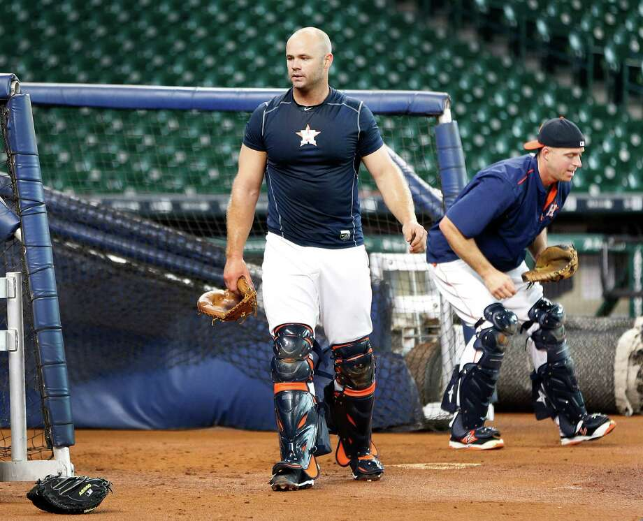 Houston Astros Evan Gattis works out at catcher during an early batting practice before the start of an MLB game at Minute Maid Park, Wednesday, April 13, 2016, in Houston. Photo: Karen Warren, Houston Chronicle / © 2016 Houston Chronicle