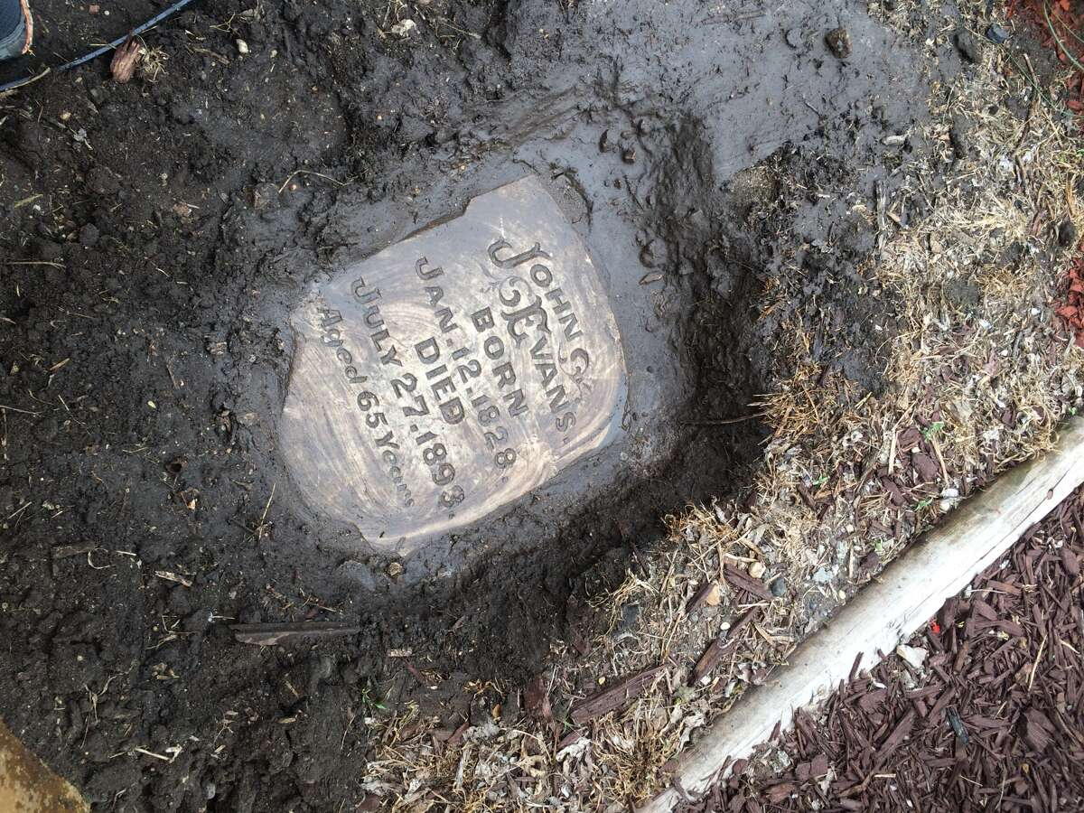 Cristina Sosa Noriega found this gravestone in her yard during a landscaping project.