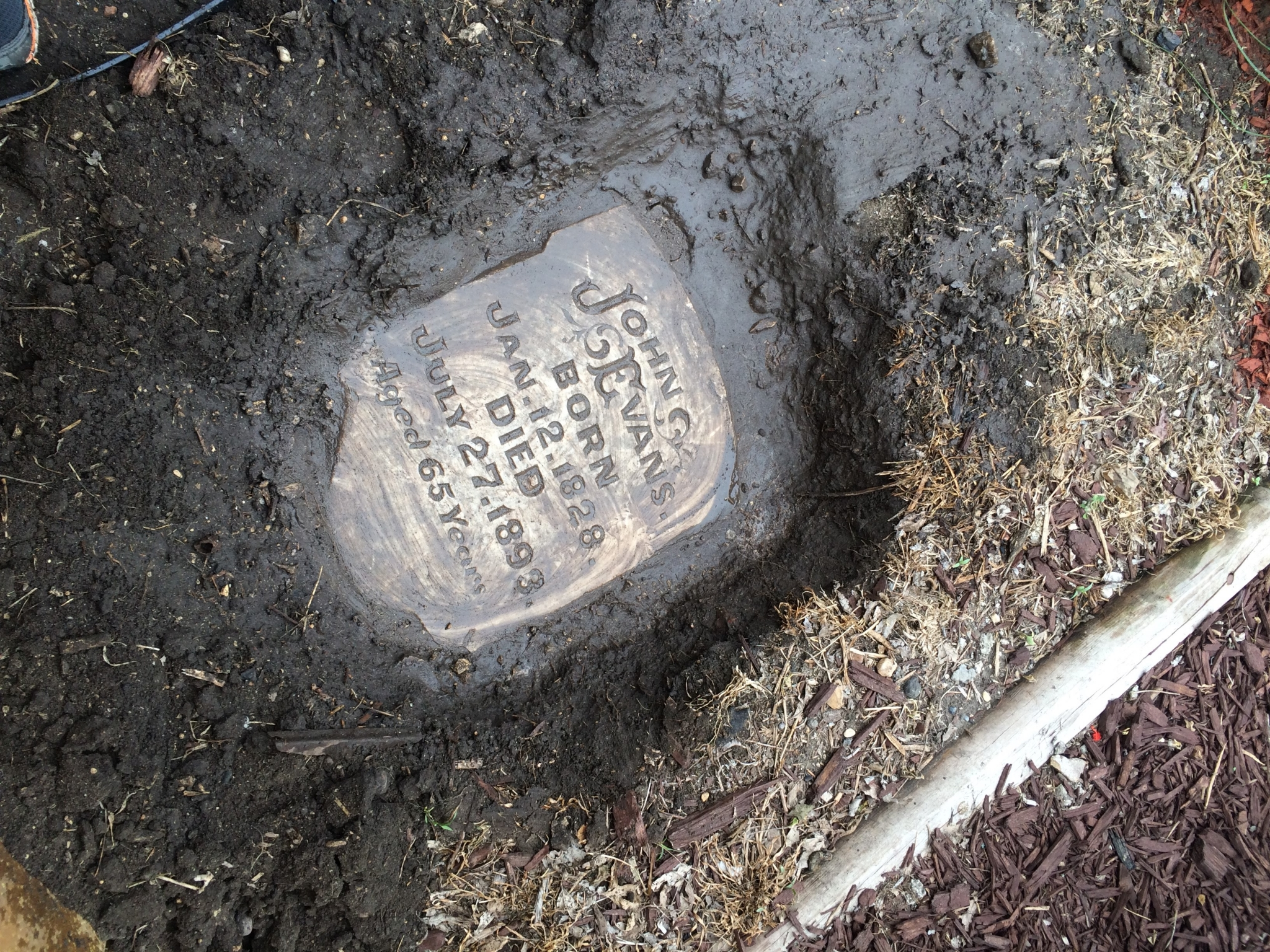 Government hill resident finds tombstone buried in yard
