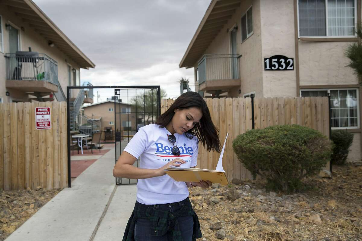 Cassandra Alvarez canvasses for Sen. Bernie Sanders of Vermont, a Democratic presidential hopeful, in a Latino neighborhood in northeast Las Vegas, Feb. 18, 2016. After Hillary Clinton�s narrow victory in Iowa and crushing defeat in New Hampshire, Nevada has turned into another tight and unpredictable contest. (Monica Almeida/The New York Times)