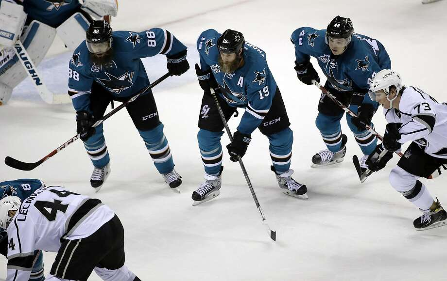 The formula the Sharks are hoping to use is solid play from Brent Burns, left, and the rest of the defense to force mistakes and open the offense for Joe Thornton, middle, and Tomas Hertl. Photo: Marcio Jose Sanchez, AP