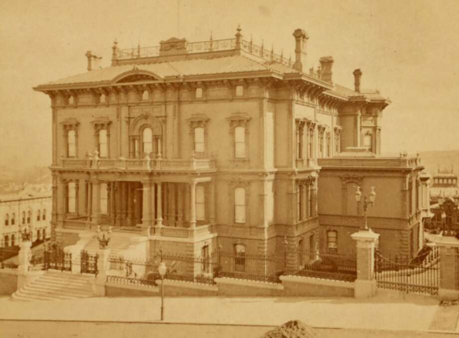 The mansion of Leland Stanford, president of the Central Pacific Railroad and founder of Stanford University, at the corner of Powell and California streets in the mid-1870s. Stanford's opulent home was next door to his partner Mark Hopkins' architectural monstrosity.