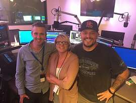 """KFOG's former morning team, l-r,� """"Irish Greg,"""" Renee, and """"No Name."""" Renee was let go; the two others were not."""