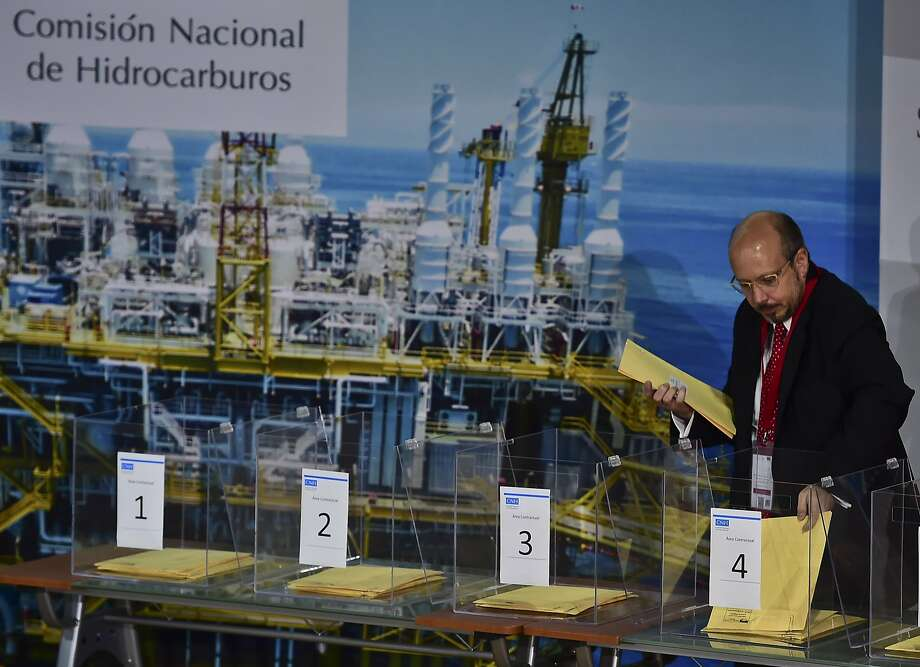 Representative of Eni in Mexico, Massimo Melandri, is pictured during the launching of the Second Oil Auction, Round One, an historic energy reform that reopened the industry to foreign investors, in Mexico City on September 30, 2015.  CONTINUE to see scenes from the Offshore Technology Conference in Houston in 2018. Photo: RONALDO SCHEMIDT, AFP / Getty Images
