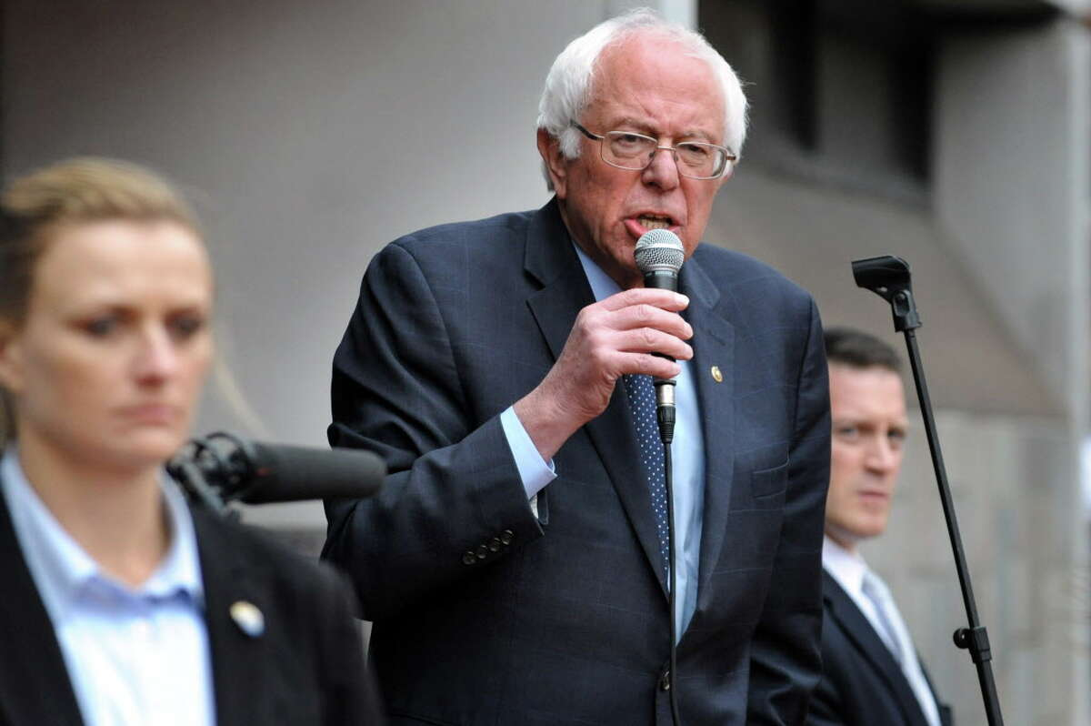Bernie Sanders, candidate for the Democratic nomination, address the overflow supporters outside on Tuesday, April 11, 2016, at the Washington Avenue Armory in Albany, N.Y. (Cindy Schultz / Times Union)