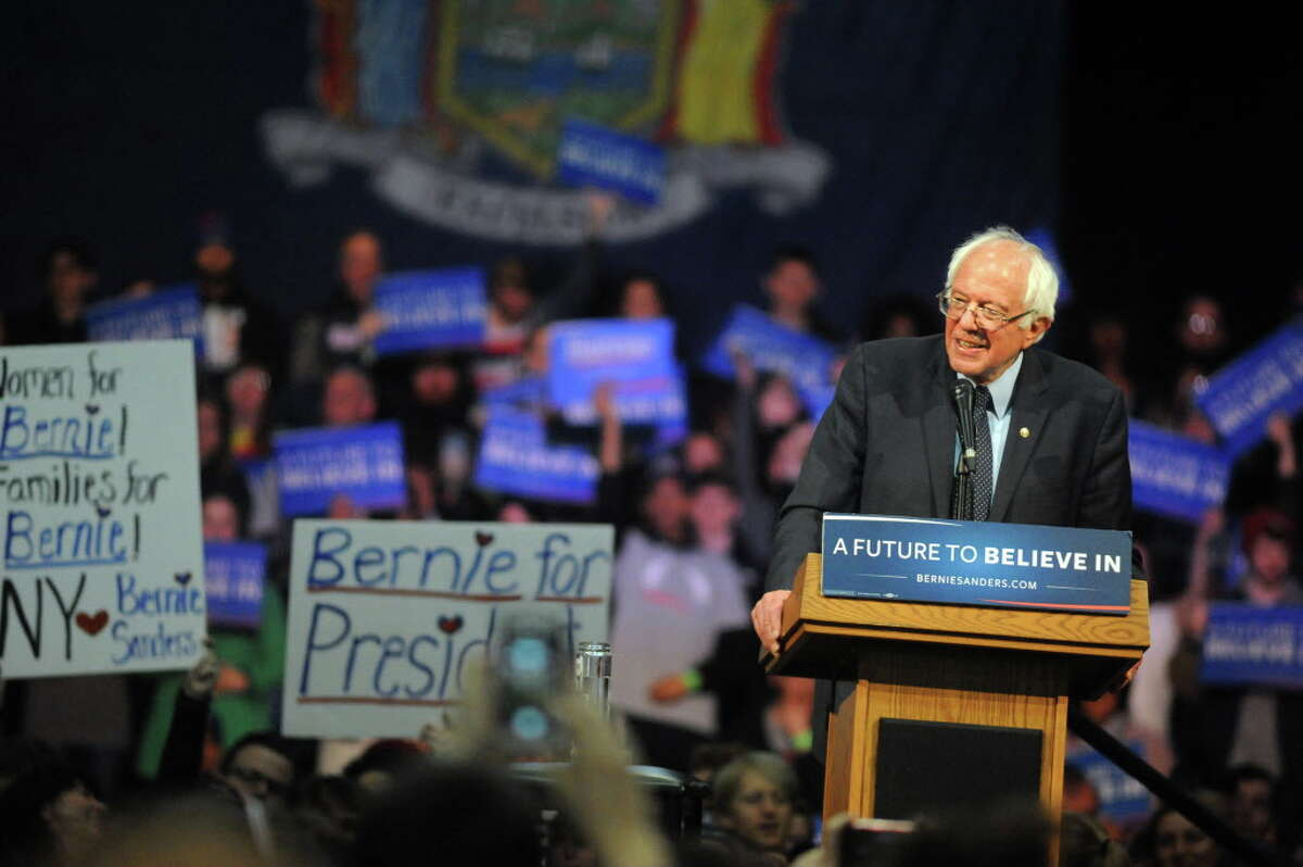 Bernie Sanders, candidate for the Democratic nomination, addresses his supporters during a rally on Tuesday, April 11, 2016, at the Washington Avenue Armory in Albany, N.Y. (Cindy Schultz / Times Union)
