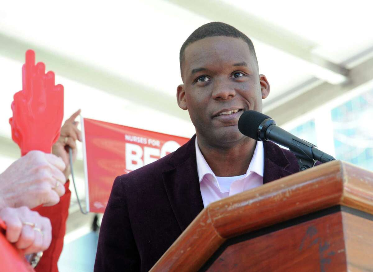 Corey Ellis speaks as nurses and Safe Staffing supporters rally at the Capitol calling for the passage of the Safe Staffing Law on Wednesday April 13, 2016 in Albany, N.Y. (Lori Van Buren / Times Union)