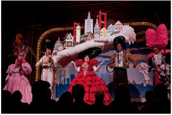 The San Francisco Skyline Hat (worn by Tammy Nelson) in Steve Silver�s Beach Blanket Babylon, the world�s longest running musical revue performing at Club Fugazi in San Francisco�s North Beach district.  Photo Credit: Rick Markovich