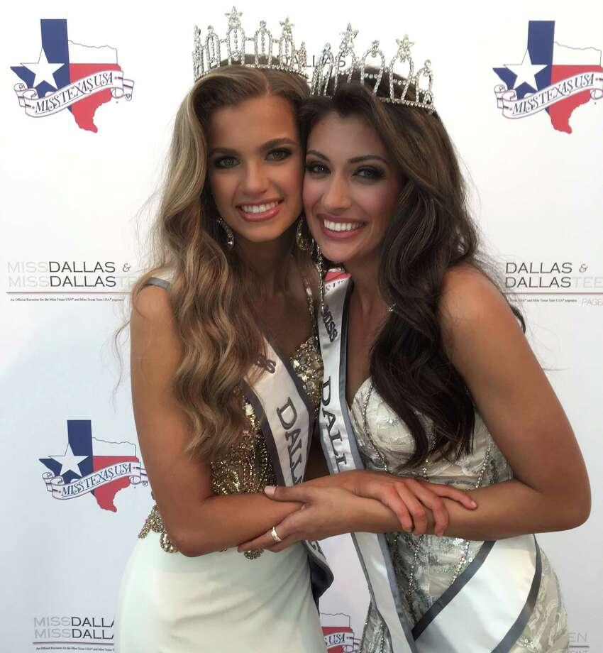 Ashlea Gutierrez, Miss Dallas, right, with Kirby Lindley, left, Miss Dallas Teen, 2016. Gutierrez is a 2009 graduate of West Brook High School.