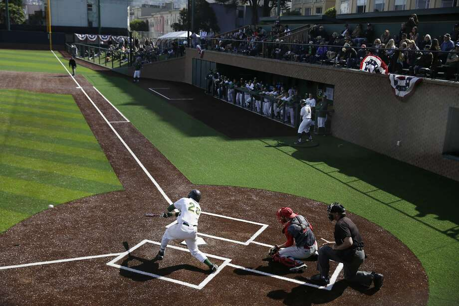 USF's Ryan Matranga lines out in the Dons' 12-3 loss to New Mexico on Wednesday. USF christened renovated Benedetti Diamond, which will have an official grand opening Saturday. The plate in this configuration is where the left-field corner was. Photo: Lea Suzuki, The Chronicle