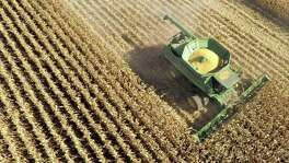 An aerial photograph shows corn harvested in Malden, Illinois. Seom U.S. food producers are seeing their sales to Mexico stall, according to industry officials. Meanwhile, Mexican buyers are telling their U.S. suppliers that they are exploring new sources of grains, corn, dairy products and meat for fear that Mexico will revive tariffs on agricultural products that went to zero after NAFTA.