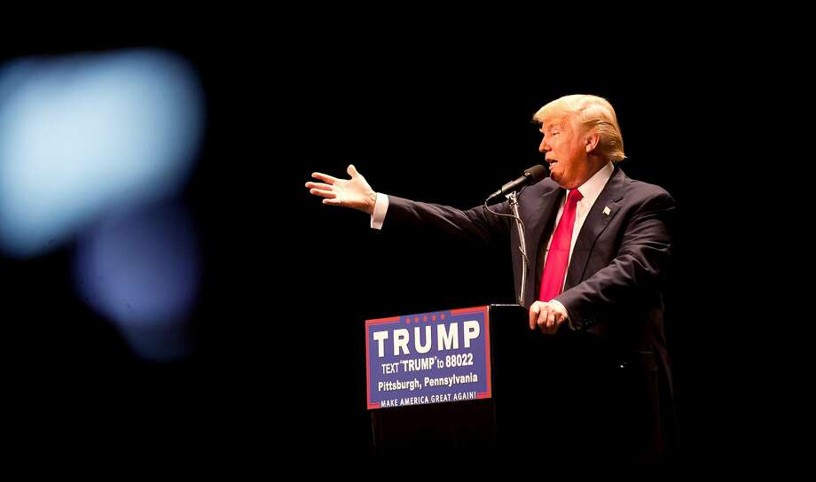 Republican presidential candidate Donald Trump speaks to an audience at a rally at the David Lawrence Convention Center on April 13, 2016 in Pittsburgh, Pennsylvania. (Photo by Jeff Swensen/Getty Images) Photo: Jeff Swensen, Getty Images