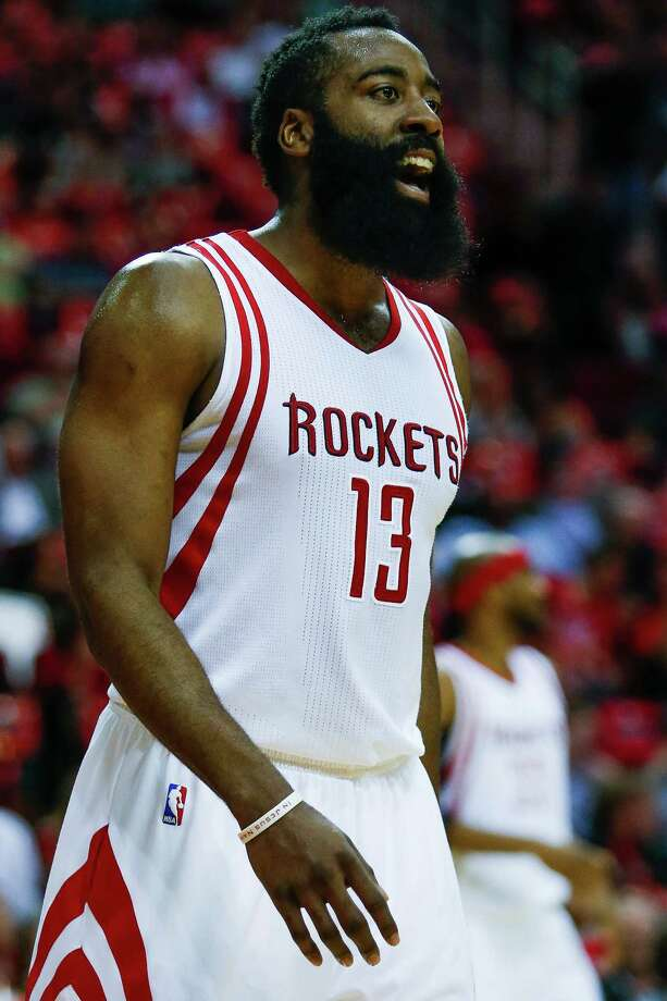 Houston Rockets guard James Harden (13) reacts after a foul as the Houston Rockets take on the Sacramento Kings at the Toyota Center Wednesday, April 13, 2016 in Houston. Photo: Michael Ciaglo, Houston Chronicle / © 2016  Houston Chronicle