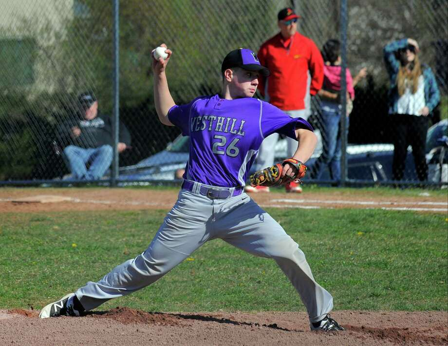 Westhill defeated Greenwich 18-6 in a varsity boys baseball game at Westhill High School in Stamford on April 13, 2016. Photo: Matthew Brown / Hearst Connecticut Media / Stamford Advocate