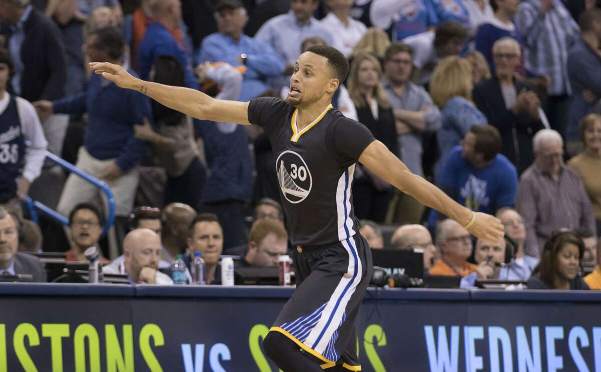 FILE - After scoring the winning three-point shot Stephen Curry #30 of the Golden State Warriors celebrates during the overtime period of a NBA game against the Oklahoma City Thunder at the Chesapeake Energy Arena on February 27, 2016 in Oklahoma City, Oklahoma. The Warriors won 121-118 in overtime.