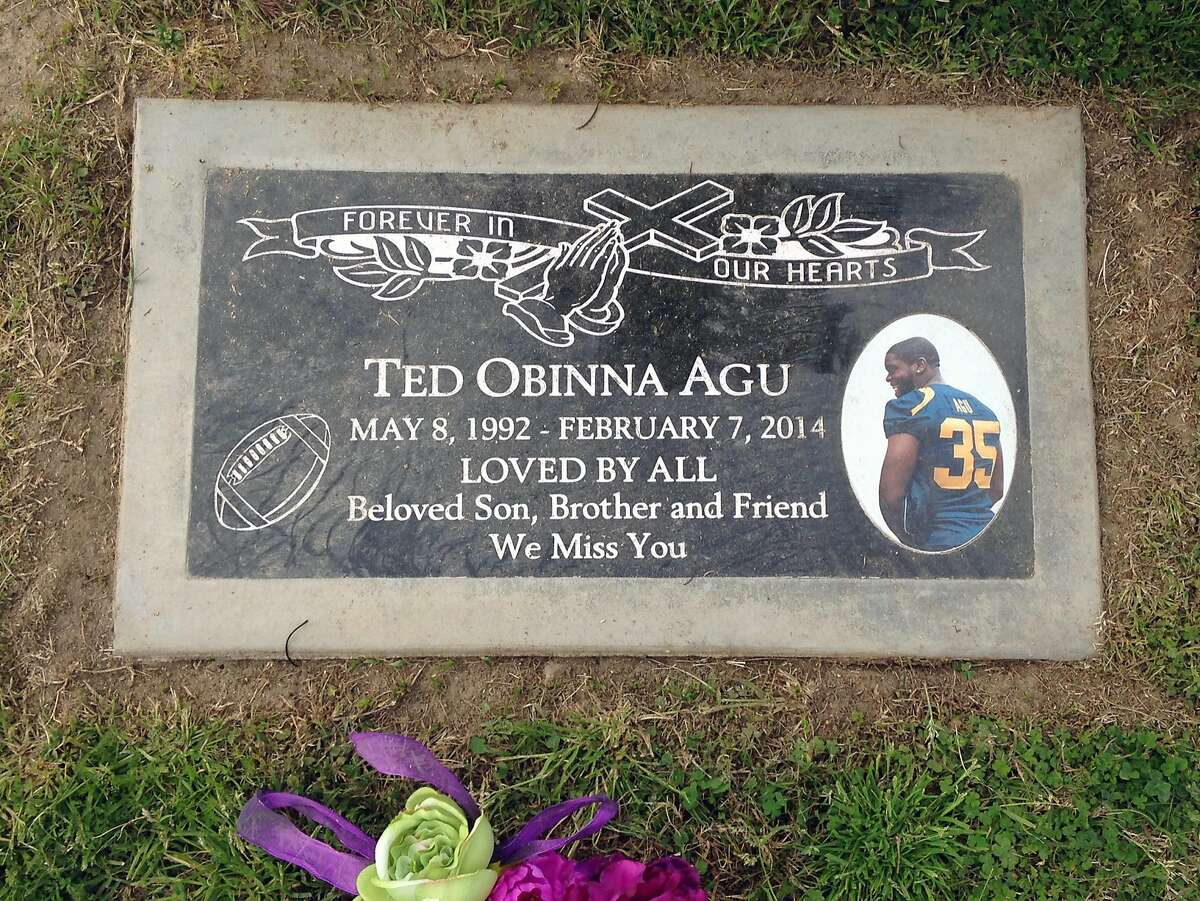 Ted Obinna Agu was buried in Bakersfield, Calif. after he died during a football conditioning drill in Berkeley on Feb. 7, 2014.