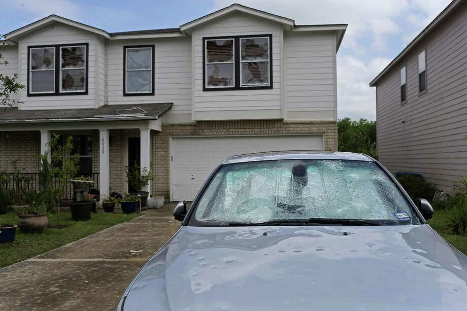 "File photo of hail damage from April 2016 storms. A Hidalgo County jury this week awarded a USAA member $1.8 million after finding that the San Antonio-based insurer and one of its adjusters committed fraud and acted with ""malice"" in mishandling an insurance claim from a 2012 hailstorm. Photo: JERRY LARA /San Antonio Express-News / © 2016 San Antonio Express-News"
