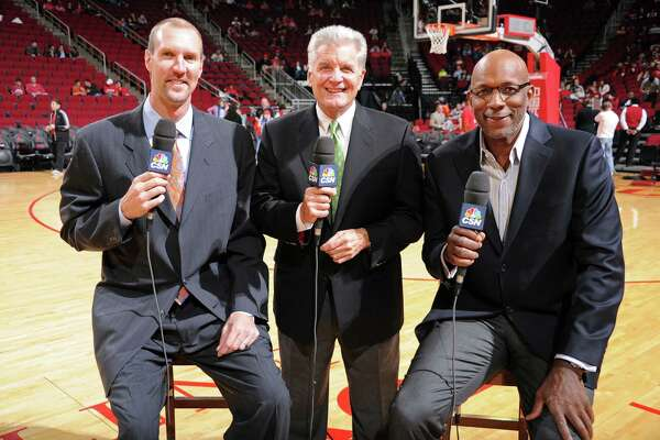Bill Worrell, center, with Matt Bullard, right, and Clyde Drexler in a Rockets pre-game show. HOUSTON, TX - JANUARY 18:  NBA Legends Matt Bullard and Clyde Drexler and Bill Worrell Television Broadcast Team of the Houston Rockets pose for a photo before the game against the Milwaukee Bucks on January 18, 2014 at the Toyota Center in Houston, Texas. NOTE TO USER: User expressly acknowledges and agrees that, by downloading and or using this photograph, User is consenting to the terms and conditions of the Getty Images License Agreement. Mandatory Copyright Notice: Copyright 2014 NBAE (Photo by Bill Baptist/NBAE via Getty Images)