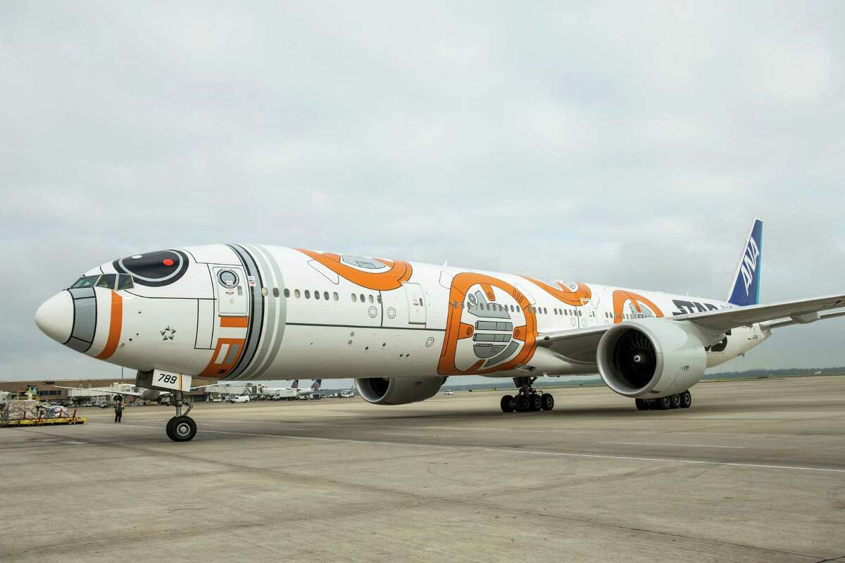 The BB-8 airplane from All Nippon Airways arrives at Bush Intercontinental Airport on Thursday, April 14, 2016. The Star Wars-themed aircraft was flying ANA's nonstop route from Tokyo. ( Brett Coomer / Houston Chronicle )