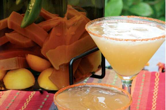 Martini Azteca from Aldaco's Stone Oak restaurant uses tequila infused with jalapeño and guavas.
