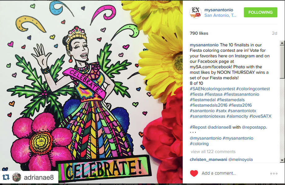 Instagram user @adrianae8 was the Readers' Choice winner in the Express-News Fiesta Coloring Contest, capturing 937 votes across Facebook and Instagram. @adrianae8 won a set of Express-News front page Fiesta medals. Photo: Instagram Screengrab