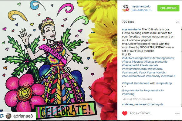 Instagram user @adianae8 was the Readers' Choice winner in the Express-News Fiesta Coloring Contest, capturing 937 votes across Facebook and Instagram. @adianae8 won a set of Express-News front page Fiesta medals.