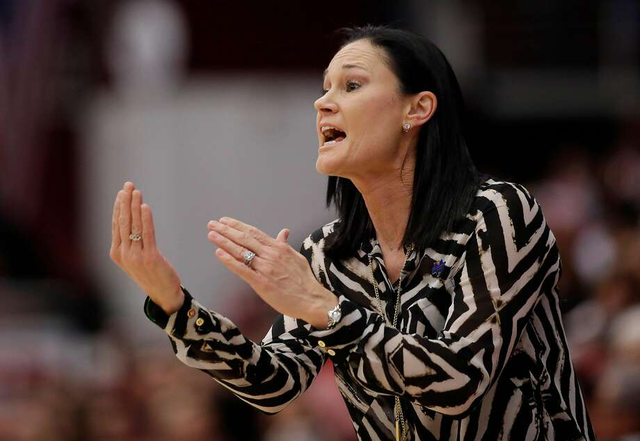 San Francisco head coach Jennifer Azzi directs her team against Stanford in the first half of a first-round women's college basketball game in the NCAA Tournament Saturday, March 19, 2016, in Stanford, Calif.  (AP Photo/Marcio Jose Sanchez) Photo: Marcio Jose Sanchez, AP