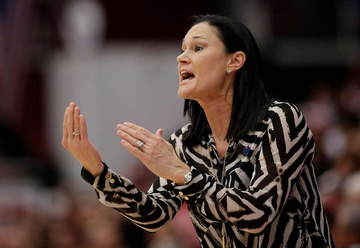 San Francisco head coach Jennifer Azzi directs her team against Stanford in the first half of a first-round women's college basketball game in the NCAA Tournament Saturday, March 19, 2016, in Stanford, Calif. (AP Photo/Marcio Jose Sanchez)