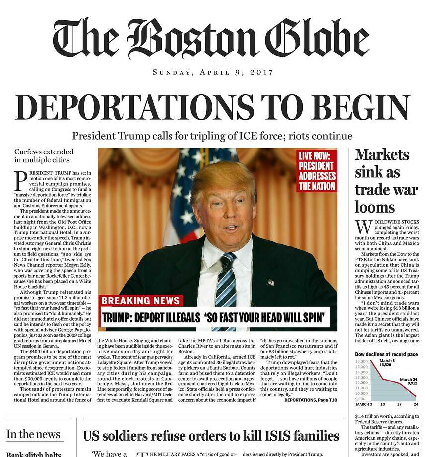 This image shows a portion of a satirical front page of The Boston Globe published on the newspaper's website on Saturday, April 9, 2016. The editorial board of The Boston Globe used the parody to express its uneasiness with a potential Donald Trump presidency. (The Boston Globe via AP) Photo: AP