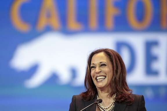 California State Attorney General Kamala Harris speaks to California Democrats, who now have a second candidate to consider for the U.S. Senate at the California Democrats State Convention in Anaheim, Calif., on Saturday, May 16, 2015. (AP Photo/Damian Dovarganes)
