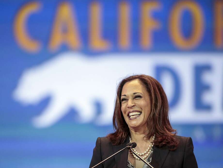 California State Attorney General Kamala Harris speaks to California Democrats at the California Democrats State Convention in Anaheim on May 16, 2015. Photo: Damian Dovarganes, Associated Press