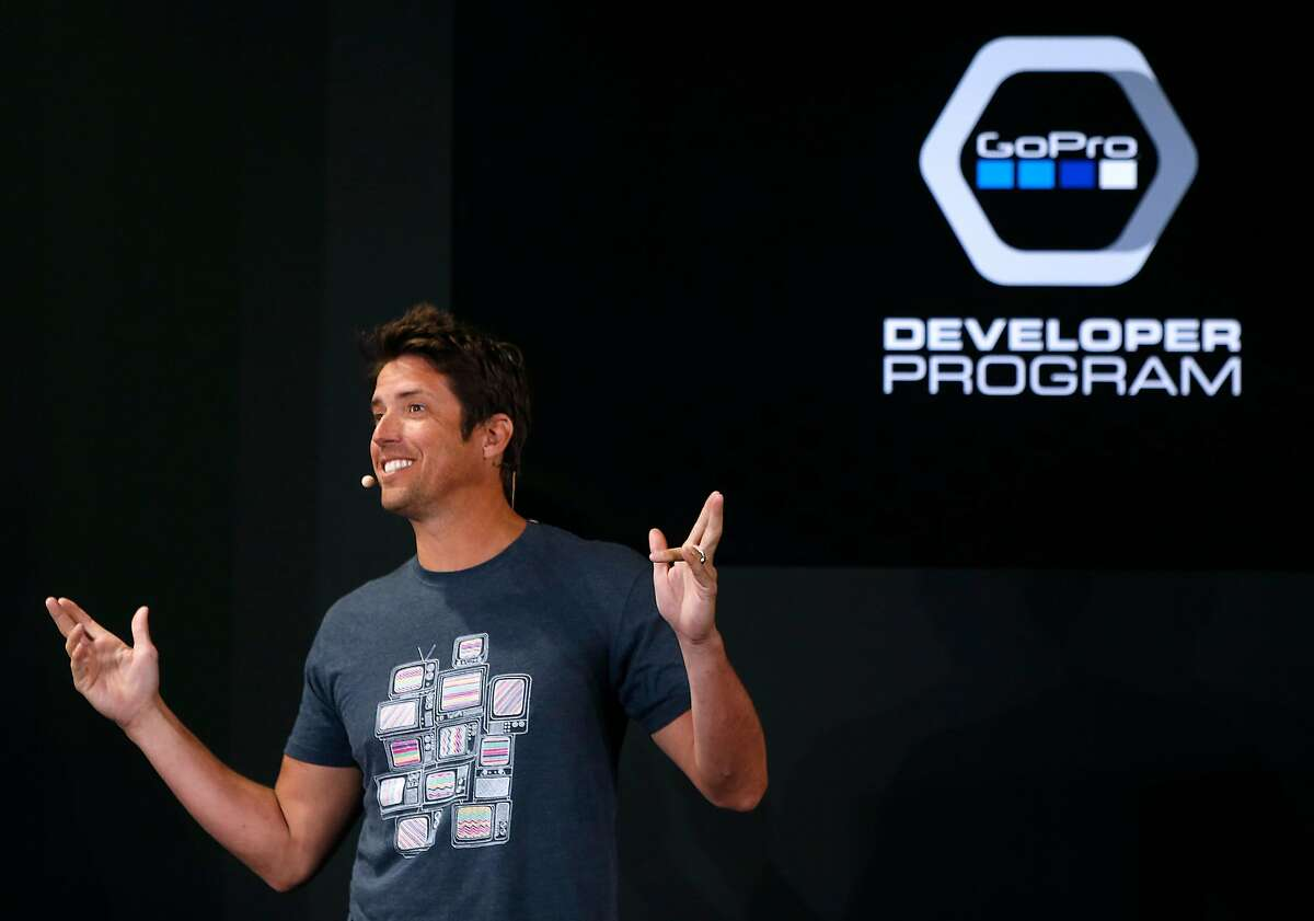 Nick Woodman, founder and CEO of GoPro, announces a new developer program in San Francisco, Calif. on Thursday, April 14, 2016. The new developer program will enable third party companies to come up with new ways to broaden the appeal of the GoPro line of cameras.