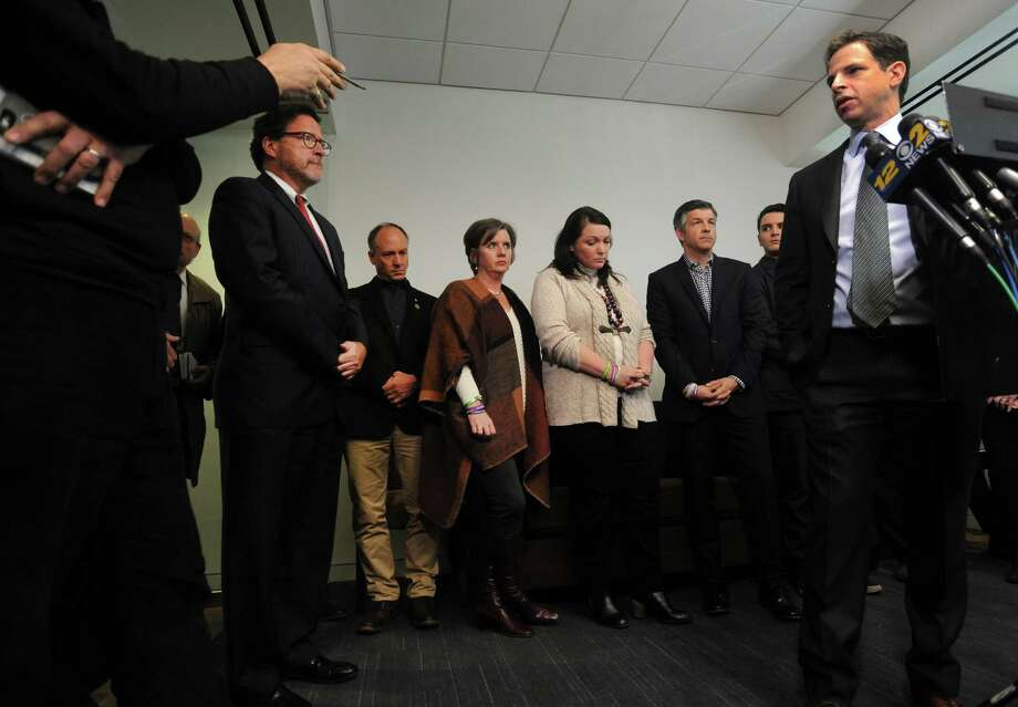 Attorney Joshua Koskoff and the Sandy Hook families that are suing the gun maker for providing the AR-15-type Bushmaster held a press conference at Koskoff, Koskoff & Bieder in Bridgeport, Conn. on Monday, Feb. 22, 2016. Superior Court Judge Barbara Bellis ruled Thursday that a lawsuit by the families of the Sandy Hook Elementary School victims could proceed against the manufacturer of the military-style rifle used to kill the 20 first graders and six adults in December, 2012. Photo: Cathy Zuraw / Hearst Connecticut Media / Connecticut Post