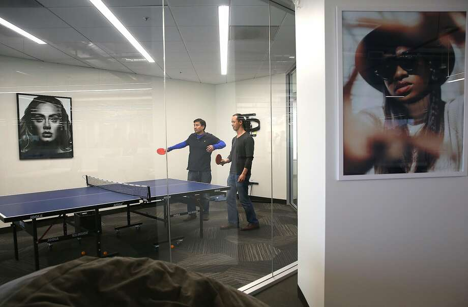 Above: Android developers play pingpong at the party celebrating Vevo's move into its new offices on San Francisco's Market Street. Photo: Liz Hafalia, The Chronicle