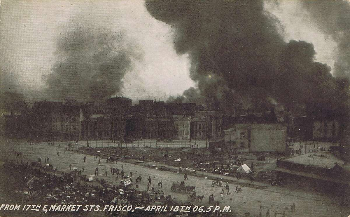 Rare view of the 1906 San Francisco earthquake and fire, from 17th and Market Streets. The photo for the vintage real photo post card was taken about 12 hours after the tremor hit. From the collection of Bob Bragman