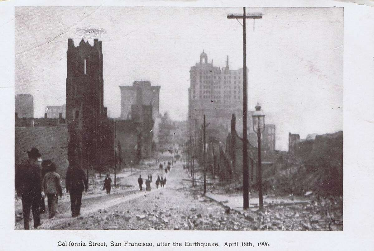 This postcard from 1906 San Francisco earthquake shows the destruction on California Street. From the collection of Bob Bragman