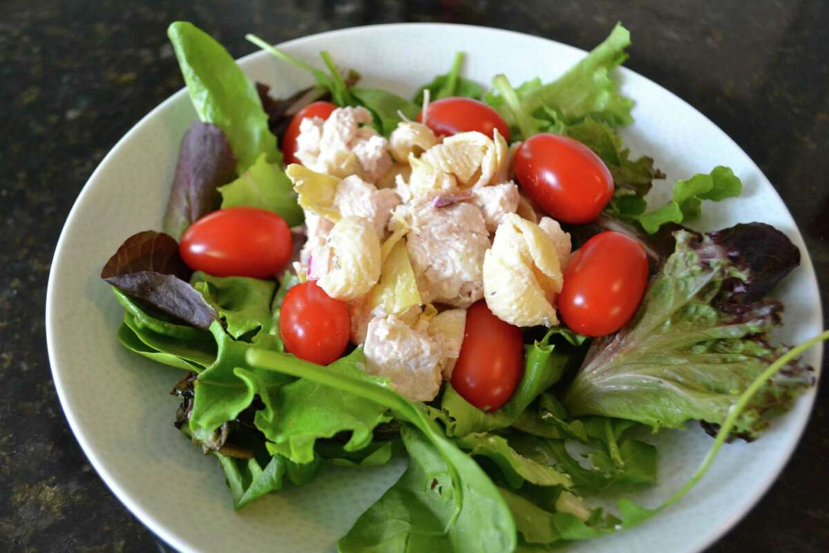 Chicken Pasta Salad can be plated on any type of lettuce.