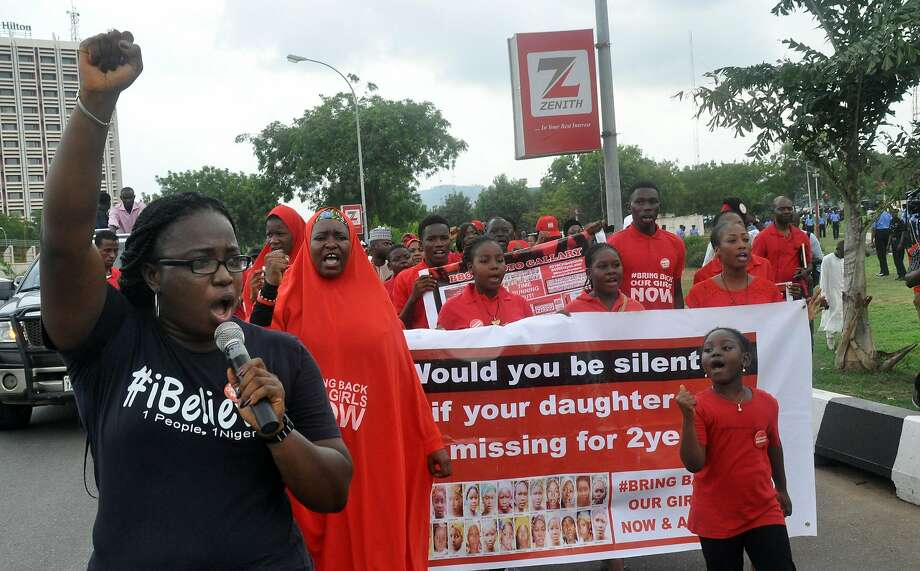 Demonstrators march in Abuja, Nigeria, to mark the second anniversary of the Chibok girls' abduction. Photo: Olamikan Gbemiga, AP