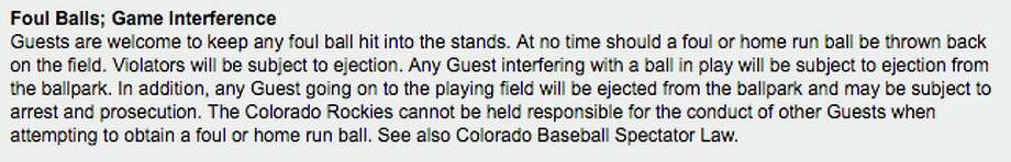 The rules at Coors Field state that guests are subject to being ejected if they throw back a ball on to the field.  Photo: Colorado.rockies.mlb.com