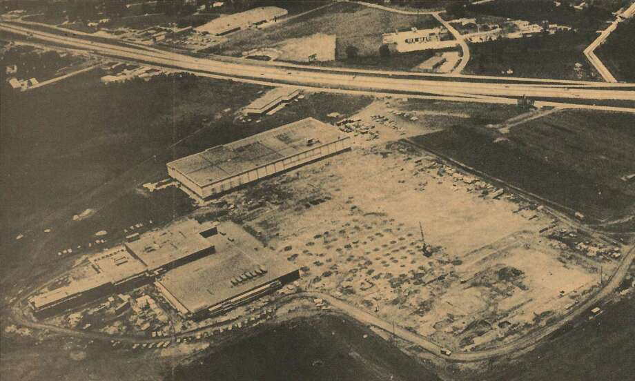 Hundred-Acre Shopping Complex — Parkdale Mall will not be completed before August, 1973, but already it has made its imprint on the 100-acre tract of land it will occupy. The large building at top, center is the JC Penney Co. store, which will open in October. At left is the Montgomery Ward & Co. store, where construction is well under way, and the concrete slab at far right is the foundation for the Joske's store, which is getting under way. The light-colored area encircled by the buildings and the temporary roadways is the location of the air conditioned shell, which will enclose and link together the 60 or more stores in the shopping complex. (Photo from July 9, 1972 edition of Beaumont Enterprise-Journal) Photo: Enterprise File
