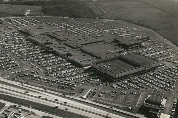 An aerial view of Parkdal Mall in the 1970s.