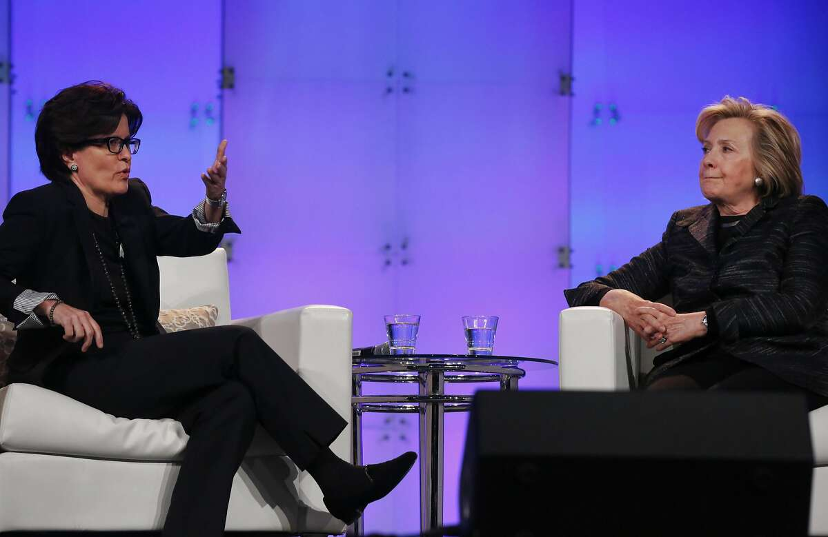 Former Secretary of State Hillary Rodham Clinton, right, answers questions from Kara Swisher, Co-CEO, Revere Digital; Co-Executive Editor, Re/code; and Co-Executive Producer, The Code Conference during the Inaugural Watermark Lead On Silicon Valley Conference for Women at the Santa Clara Convention Center Feb. 24, 2014 in Santa Clara, Calif.