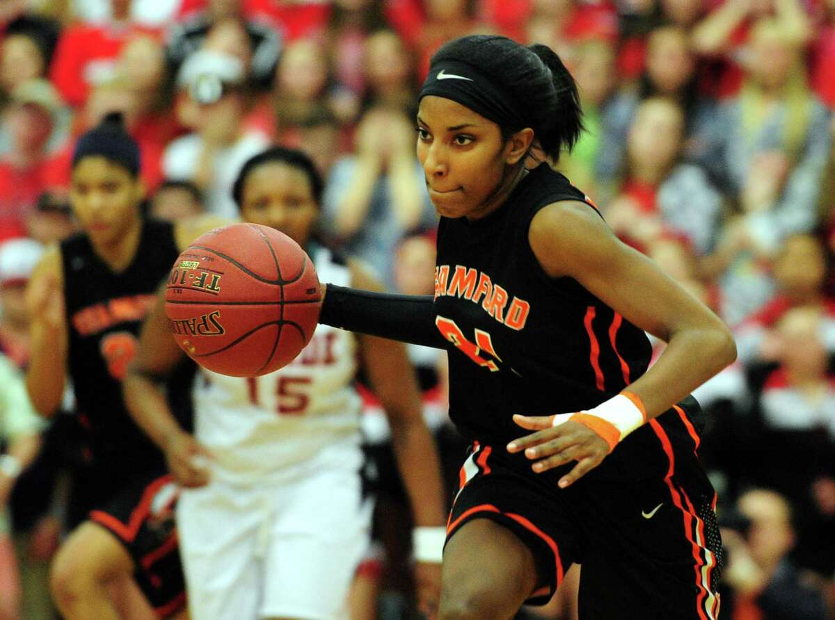 Stamford's Tiana England. FCIAC Girls' Basketball Finals action between Stamford and Fairfield Warde in Fairfield, Conn. on Friday Feb. 26, 2016.
