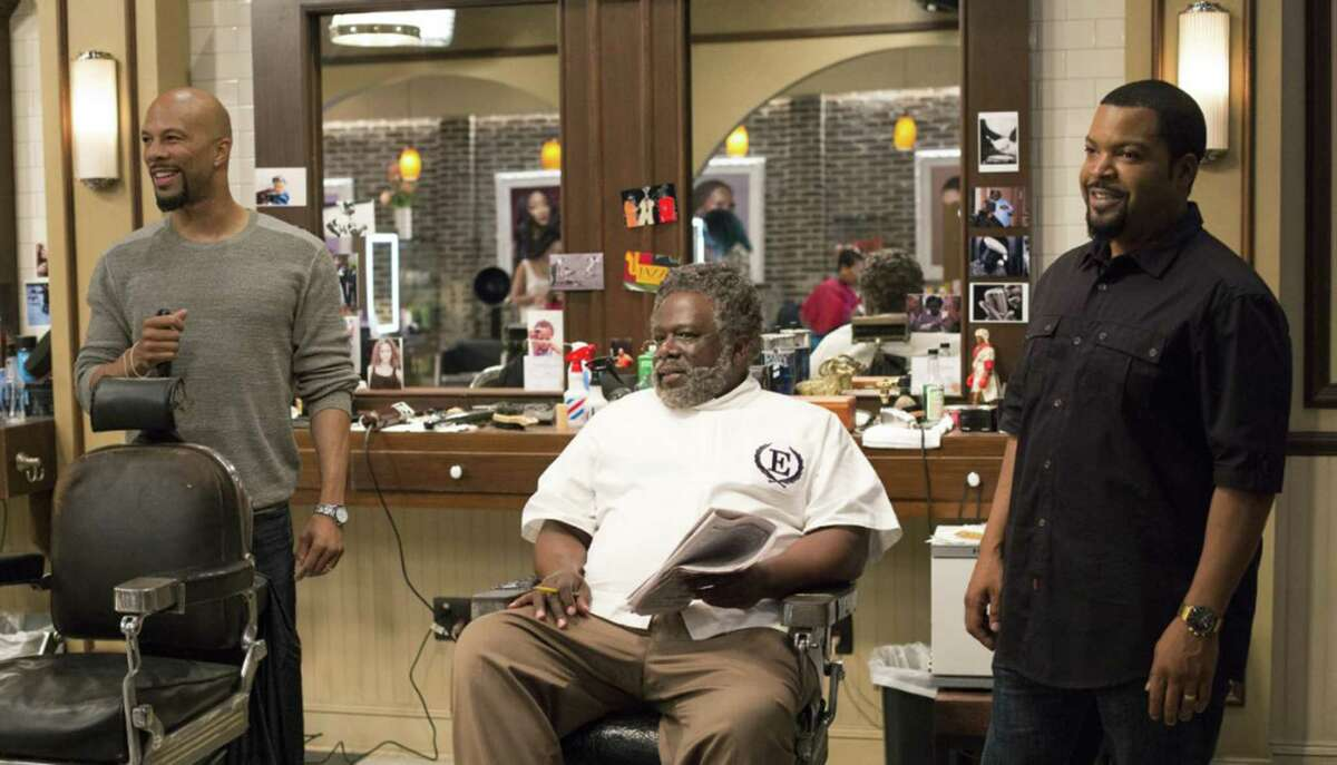 """Common, from left, Cedric the Entertainer and Ice Cube star in """"Barbershop: The Next Cut."""""""