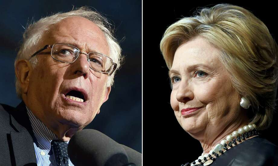This combination of file photos shows Democratic presidential hopefuls Bernie Sanders(L)on March 31, 2016 and Hillary Clinton on March 30, 2016. AFP PHOTO / PHOTO DESKPHOTO DESK/AFP/Getty Images Photo: PHOTO DESK / AFP /Getty Images / AFP or licensors
